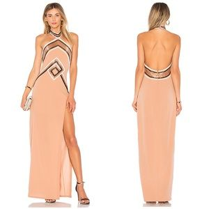 X by NBD Rosie Beaded Nude Gown Maxi Dress NWT